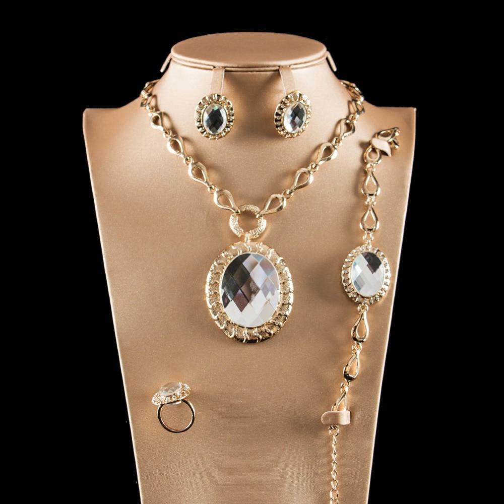 LAN PALACE austrian crystal ladies africa jewellery set Nigeria earrings necklace ring bracelet free shipping