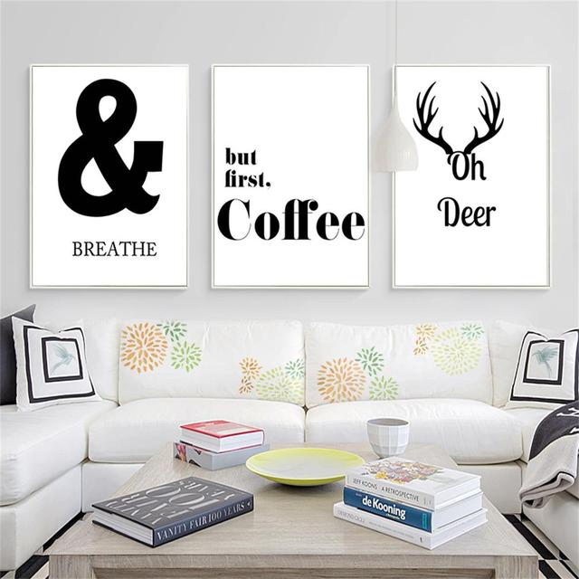Black White Funny Quote Canvas Minimalist Posters Prints Nordic Style Wall  Art Painting Wall Pictures For