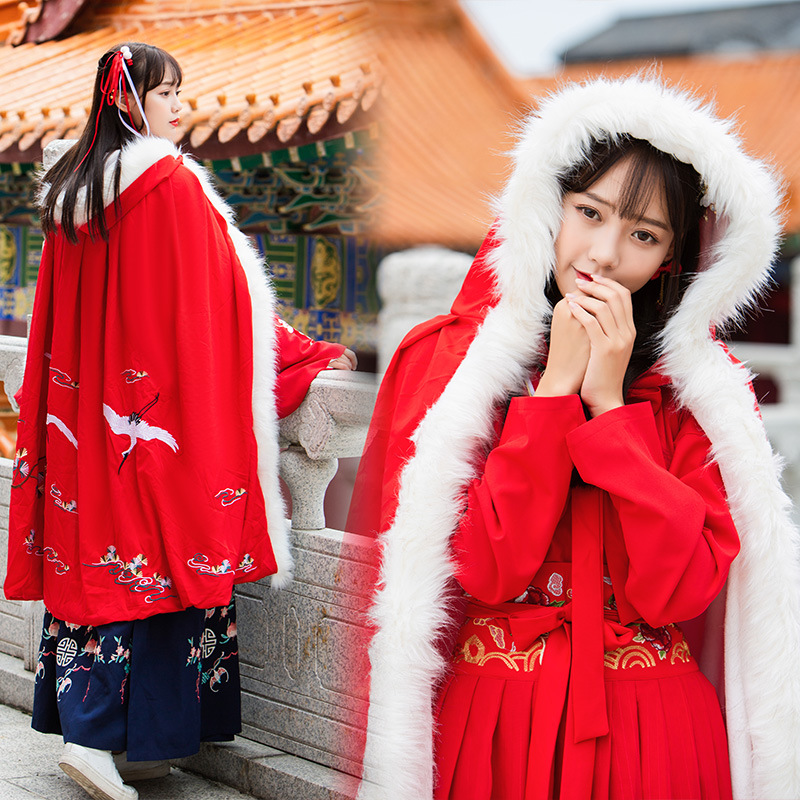 À Épaissir Capuchon Noël Cosplay Femmes De Manteau Outwear Grue Cachemire Chinois Cape Long Fourrure Floral Laine Broderie wqg1gpE