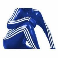 Gummi Latex Rubber Navy Blau Blue Catsuit Bodysuit Zipper Tight Cool Suit Party