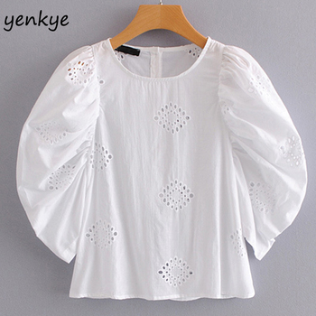 Fashion Women Cutwork Embroidery Blouse O Neck Puff Sleeve Back Sexy Buttoned Opening White Shirt Brand Blusas Summer Tops blouse