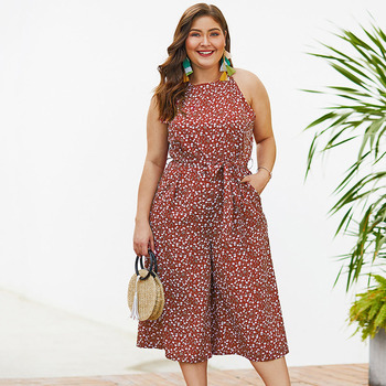 Plus Size Wide Leg Jumpsuit Women Rompers 2019 New Summer Sleeveless Casual Fashion Loose Pocket Red Polka Dot Elegant Overalls