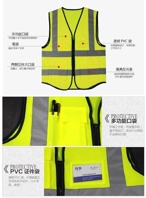 YUANMINGSHI Car Motorcycle Reflective Safety Clothing High Visibility Safety Vest Warning Coat Reflect Stripes Tops Jacket 2