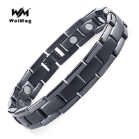 WelMag Brand Design Titanium Health Energy Turquoise Magnetic Bracelet Black Bangle Birthday Gift For Father