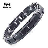 WelMag Brand Design Titanium Health Energy Turquoise Magnetic Bracelet Black Bangle Birthday Gift For Father