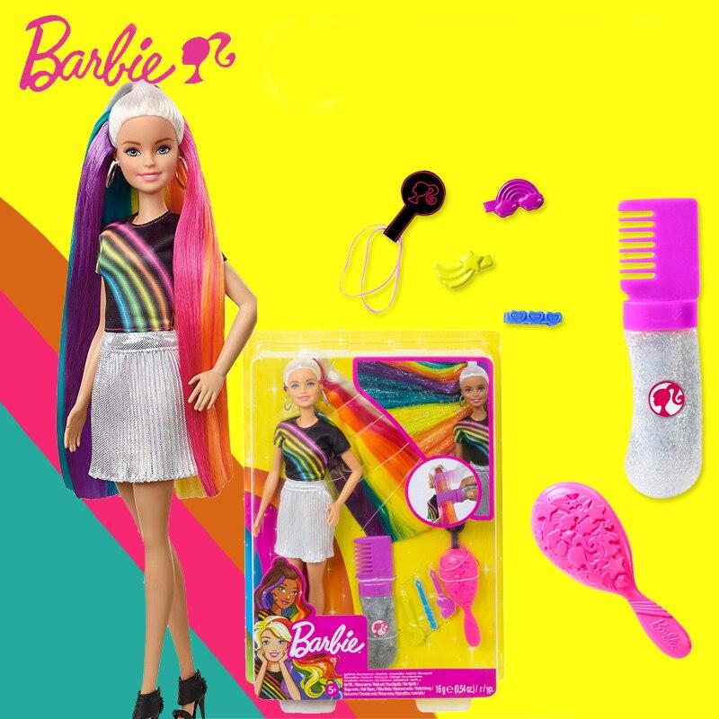 Barbie marca mais novo brinquedo boneca arco-íris brilho cabelo boneca bonita menina estilo diferente boneca modo fxn96 para o presente de aniversário