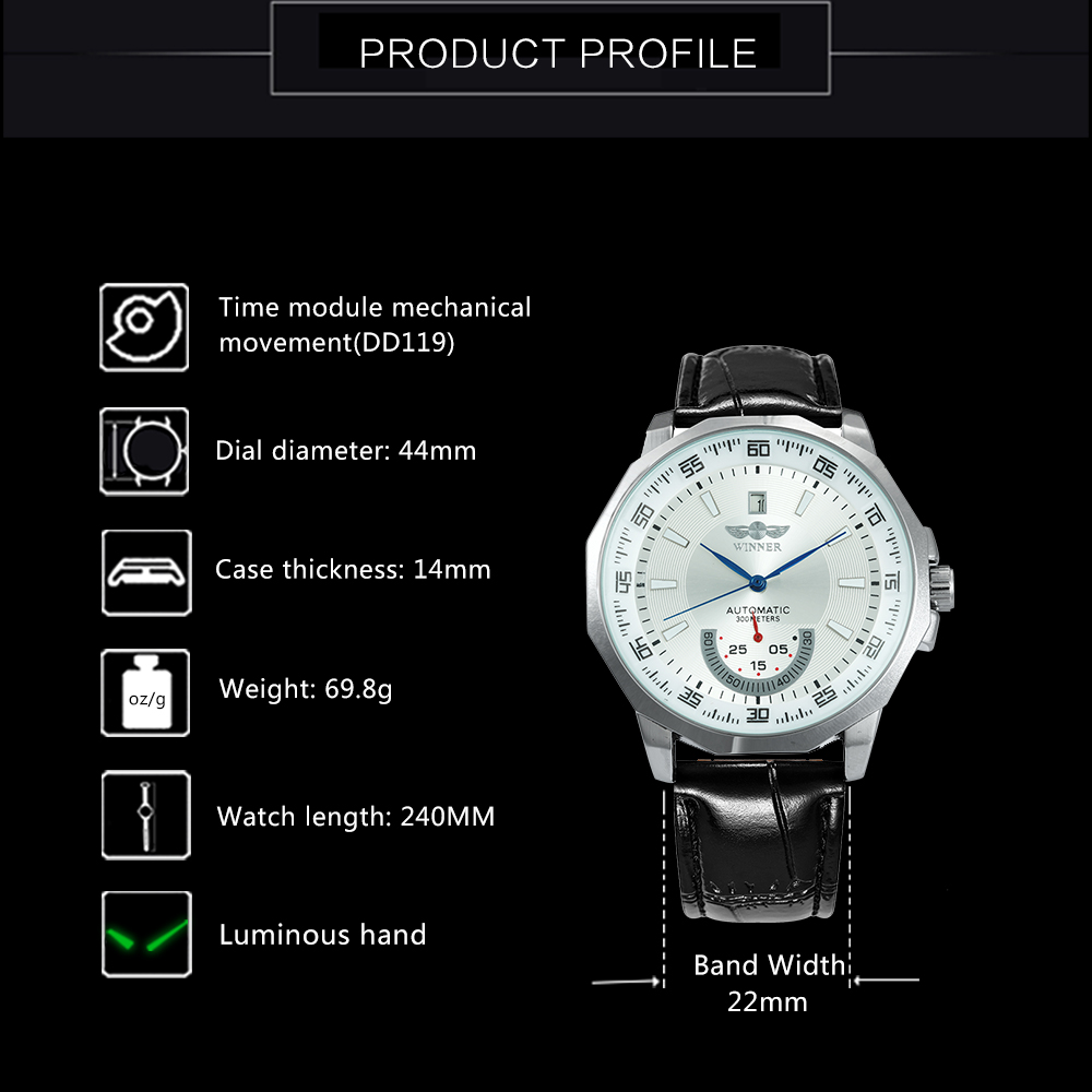 HTB1R8GUXznuK1RkSmFPq6AuzFXab WINNER Official Military Sports Watch Men Automatic Mechanical Sub-dials Calendar Leather Strap Mens Watches Top Brand Luxury