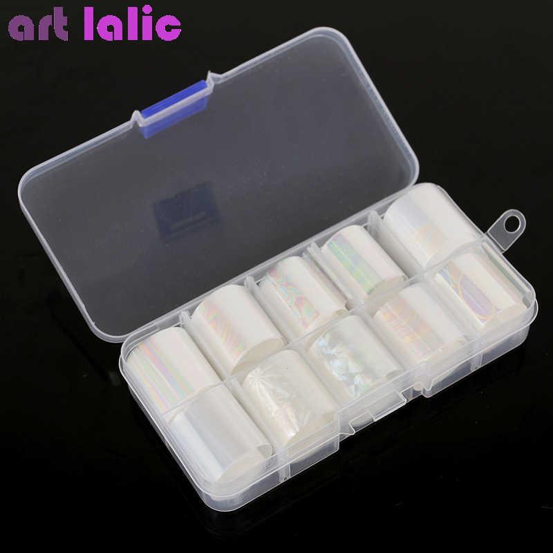 10ม้วน/กล่องHolographicเล็บฟอยล์ชุด2.5*100ซม.Gradientโปร่งใสABสีTransferสติกเกอร์เล็บart Decals