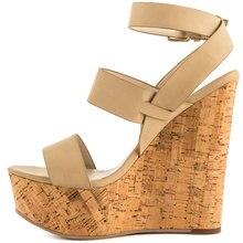 Classical Women Wedge Sandal Ankle Strap Open Heel and Toe Thick Platform Sandalias Plataforma High Heel Shoes Women 2015