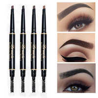 Double Ended Eyebrow Pencil Waterproof Long Lasting No Blooming Rotatable Eye Brow Tint Tattoo Pen with Brush Black Brown