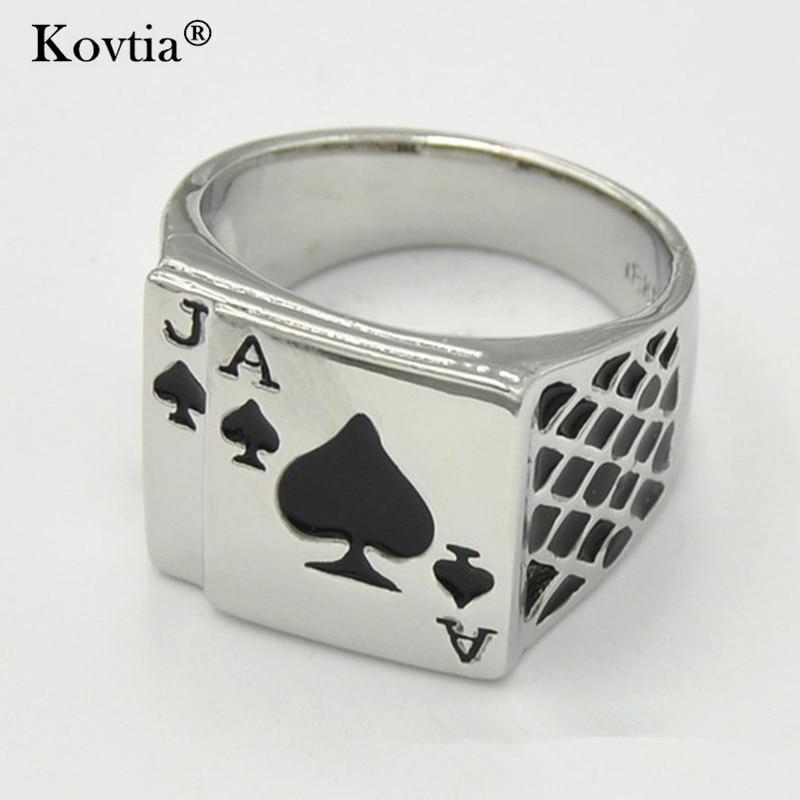 Kovtia 2017 New Playing Card Poker Men Jewelry Rings