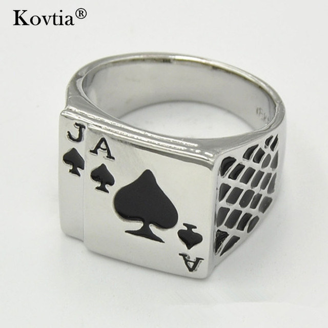 kovtia 2017 new playing card poker men jewelry rings personality funny steampunk design width wedding ring - Steampunk Wedding Rings