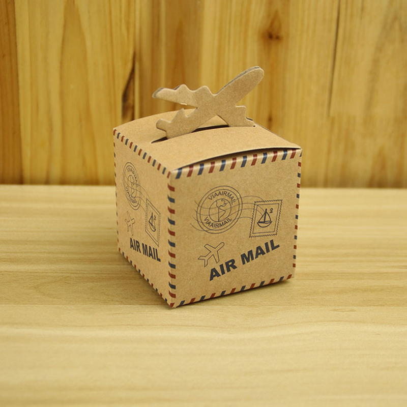 100pcs/lot Creative Airplane Air Mail Thin Kraft Paper Candy Box DIY Special Candy Gift Box Party Wedding Birthday Supplies