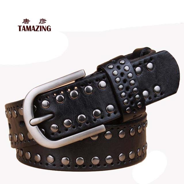 Correa de cuero genuino de las mujeres cinturones de diseño de alta calidad remache hebilla 100% cinturón de piel de vaca para las mujeres