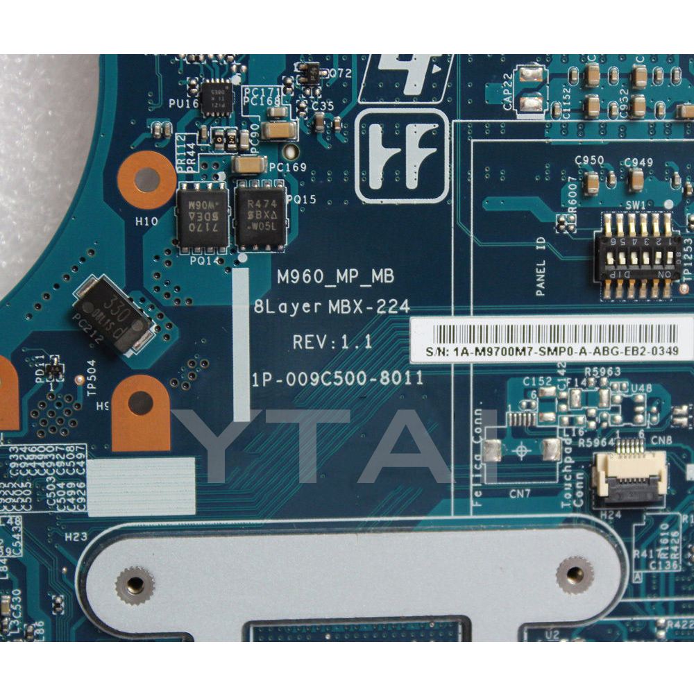 YTAI A1771577A For Sony M960 VPCEA MBX-224 laptop motherboard A1771577A 1P-009C500-8011 DDR3 HM55 mainboard fully tested mbx 265 for sony svt13 motherboard with cpu i3 3217u 2gb memory pc motherboard professional wholesale 100