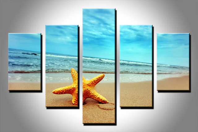 5 Piece Home Office Wall Decor Products Sea Star Canvas Painting Artwork  Modern Style Wall Art