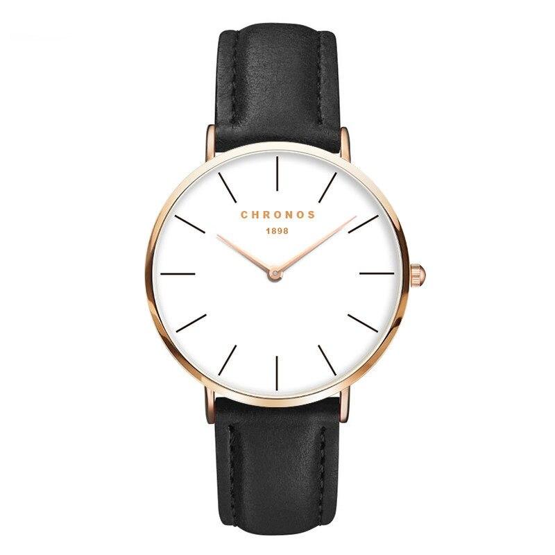 921eac1e81e 2018 CHRONOS Homens Moda Assista Rose Gold Relógio de Quartzo Casuais  Mulheres de Couro Relógios Casal