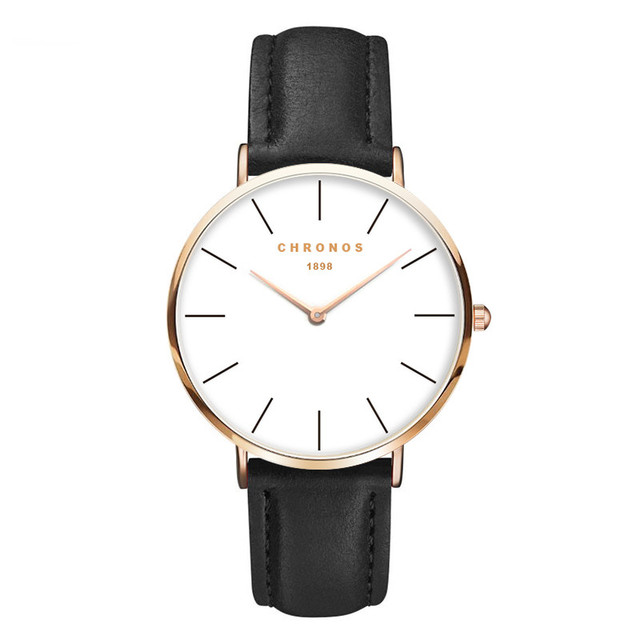 2018 CHRONOS Men Fashion Watch Rose Gold Casual Quartz Watch Women Leather Watch