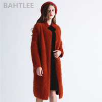 BAHTLEE autumn winter women's angora rabbit cardigans long sweater looser fashion pearl button pocket very thick keep warm