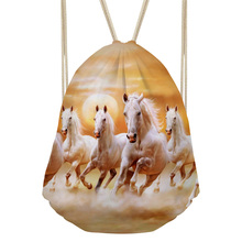 Noisy Designs Drawstring Backpack Girls Escolar Mini Backpack Horse 3D Printed Unicorn Bag Backpack For Teenagers Shopper Bag