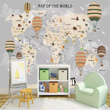 Cartoon world map background wall professional production mural wholesale wallpaper custom photo