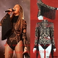 women Celebrity Stage Sequined Fringe Tattoo Bodysuit jumpsuit female singer DJ DS dance stage costume bodysuit nightclub show