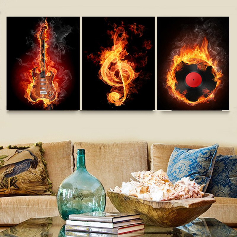 Музыка 3 предмета холст настенная живопись абстрактный декор дома черный сжигания гитара поп-Книги по искусству фотографии холст украшения...
