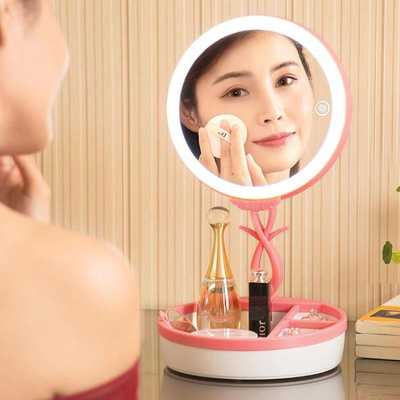 Folding LED Lighted Makeup Mirror Touch Screen Adjustable Portable Cosmetic USB Rechargeable Mirror Make Up Table Lamp usb led makeup mirror maquiagem double sided wireless charge for phone led touch screen amplifier make up mirror cosmetics tool