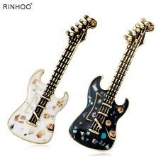 Guitar Violin Green Natural Stone Shell Crystal Brooches Pins Vintage Antique Gold Style Women Broochmusical Instrument Music(China)