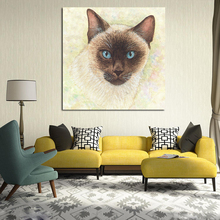 Animal Print Siamese Cat Canvas Posters And Prints Oil Painting Decorative HD Picture For Bedroom Modern Home Decoration
