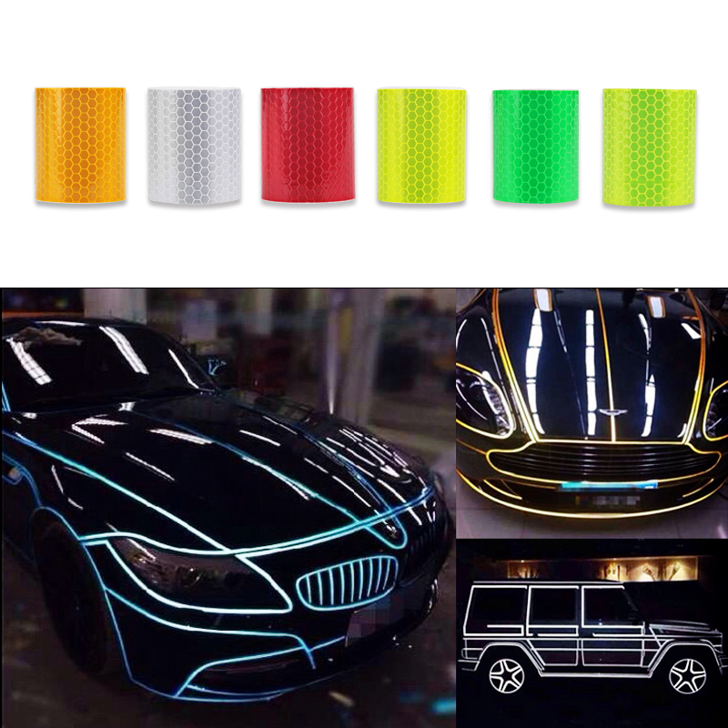 5cm x 300cm Car Reflective Sticker Tape Strip Auto Motorcycle Reflective Tape Stickers Car Styling Decoration For Ford White Red reflective front mitsubishi shelf reflective car stickers ling yue v3 lancer car stickers