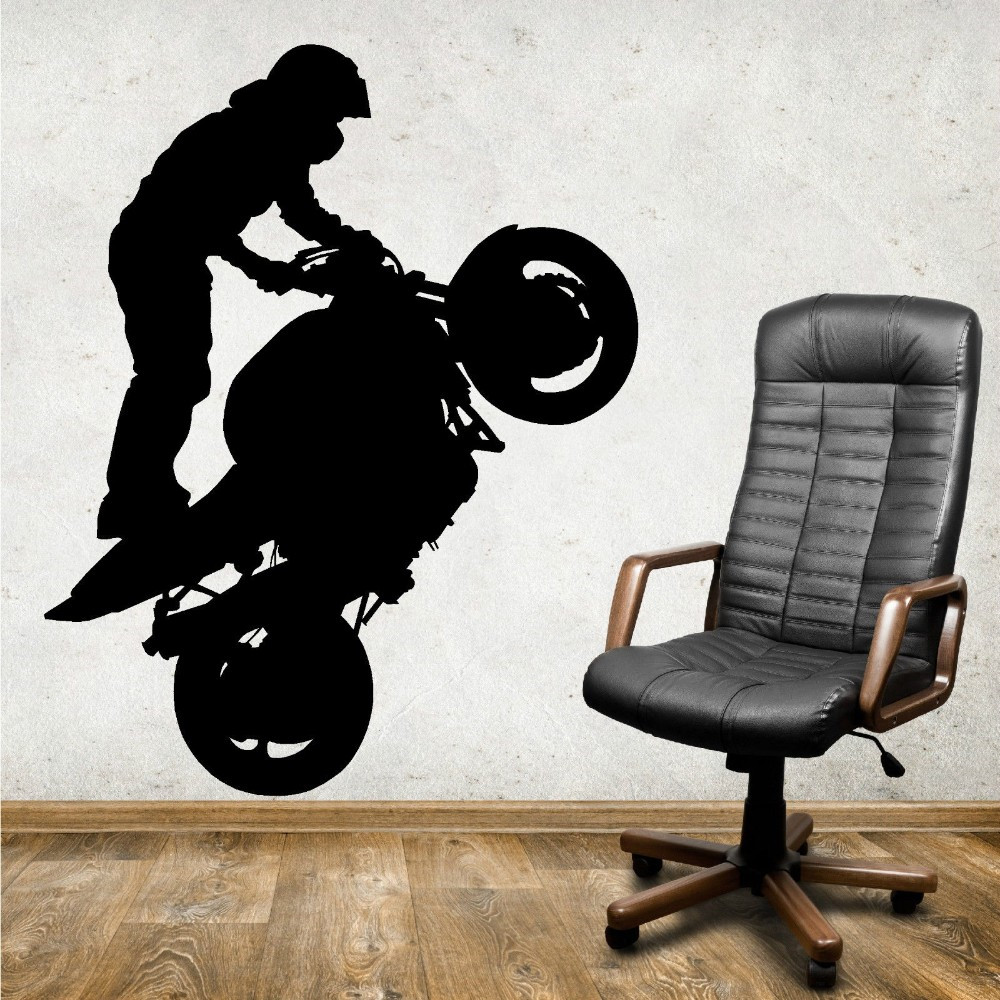 Motorcycle Wall Stickers Part - 20: Extreme Sports Motorcycle Rider Standing Vinyl Stickers Art Mural Wall  Decals Decorate The Living Room Wallpaper