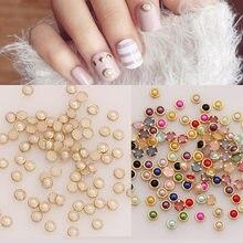 4 мм Цветные полукруглые жемчужины, металлические стразы, сделай сам, для украшения ногтей, бусины, красота, блеск, 50 шт