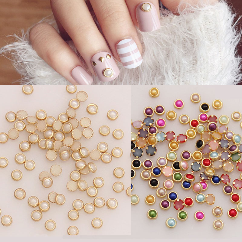 4mm Colorful Half Round Pearls Metal Rhinestone DIY Nail Art Decoration Nails Beads Beauty Glitter 50PCS