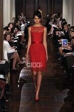 2016 neue Design Abendkleid Red Lace Sleeveless Kurze Kleider Cocktail Party Heißer Verkauf Veatidos De Festa MY1010-04