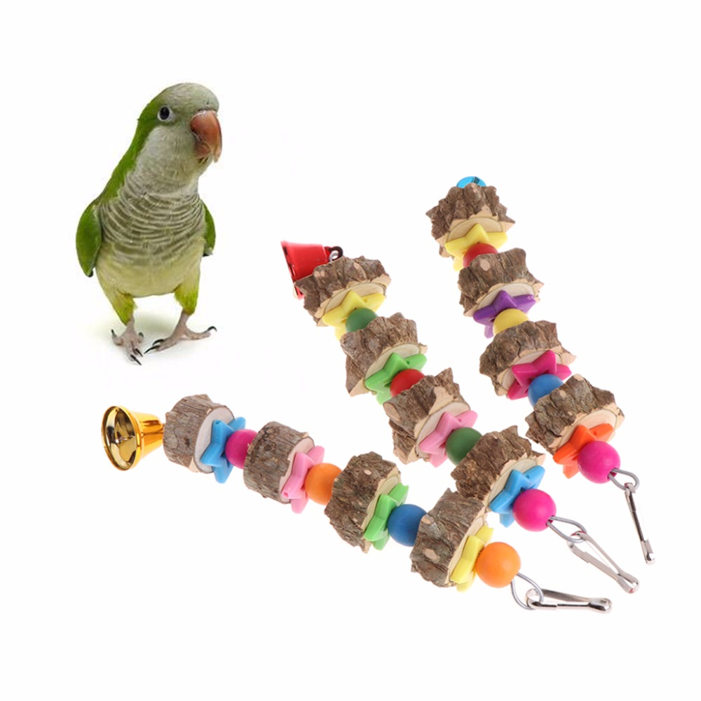 Natural Wooden Birds Parrots Colorful Toys Chew Hanging Cage Concave Convex Bell