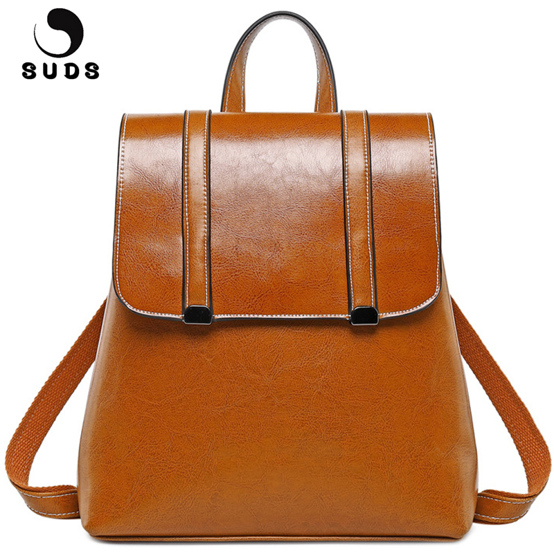 SUDS Brand Women Backpack Genuine Leather Female Shoulder Bags Cow Leather School Bag for Teenage Girl Large Capacity Backpacks цена