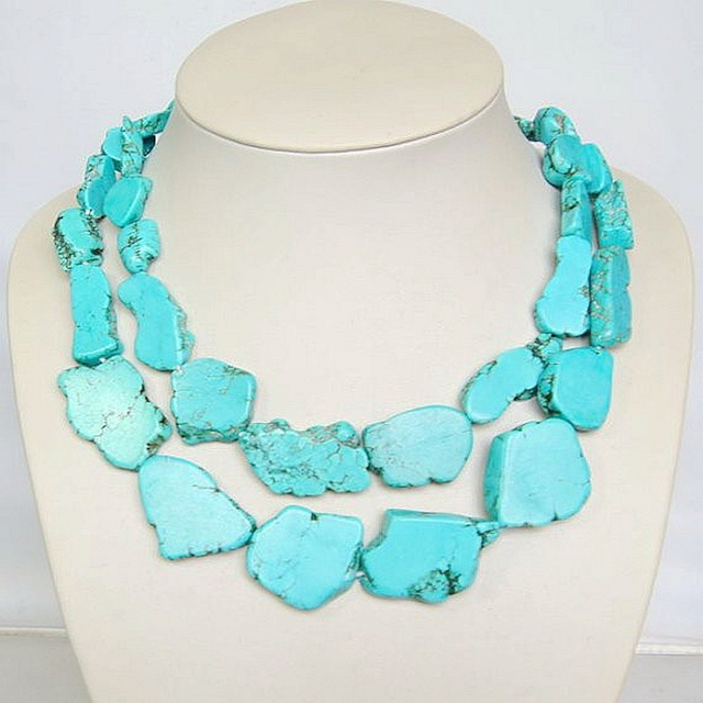 Free Shipping Wholesale Statement Necklace, Turquoise Natural Stone Necklace, Double Strands Collar Necklace