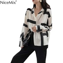 NiceMix Fashion Harajuku Blouse Women Print Irregular Stripe Shirt Womens Tops And Blouses Blusas Femininas De Verao 2019