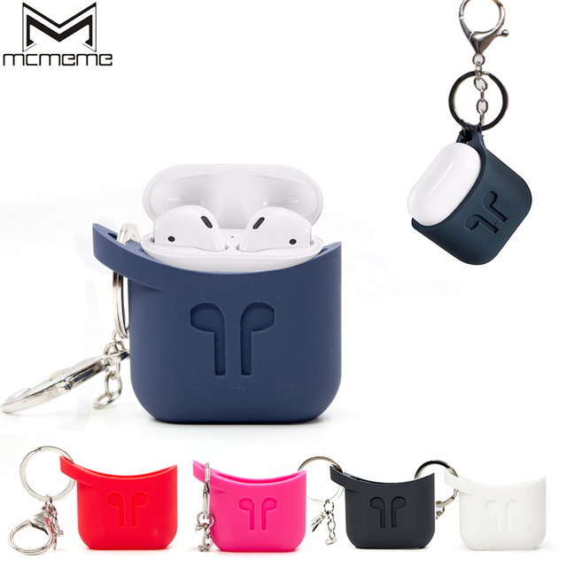 huge discount be9c6 2631b US $3.28 |MCMEME For Apple AirPods Silicone Case Funda Soft TPU Case Cover  With Anti lost Lanyard For AirPods Air Pods Charging Case Shell-in Phone ...