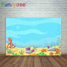 Funnytree новый фотографический фон морской водоросли Морская звезда камень мультфильм подводный день рождения фон для фотостудии