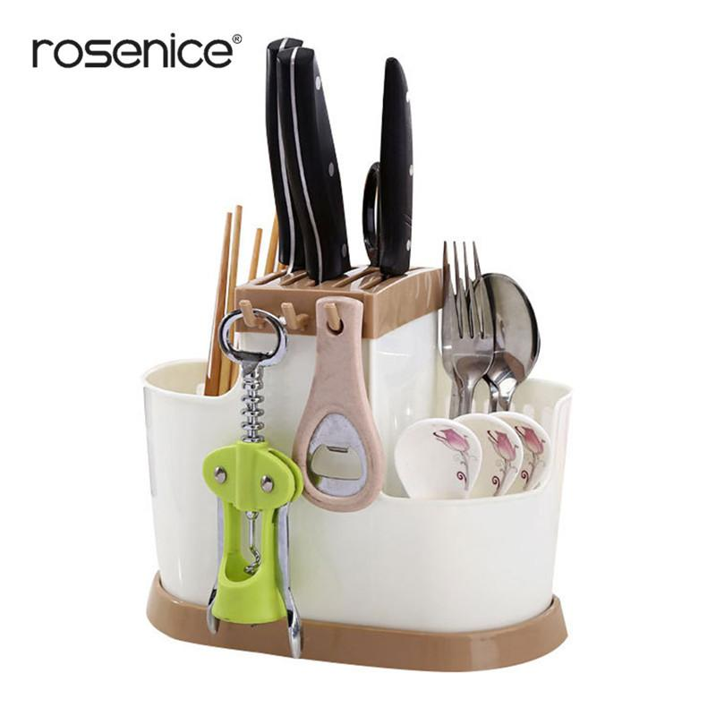 Multifunctional Plastic Utensil Organizer Flatware Holder With Holey Base House Knife Rest Dish Rack Counter Top Storage 3 Color