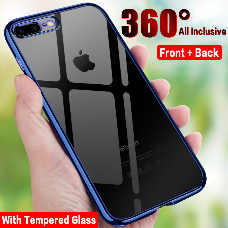 Balleen.E Electroplating 360 Full Cover Case For iPhone X Transparent Soft TPU Phone Cases For iPhone 7 8 6 6s Plus With Glass