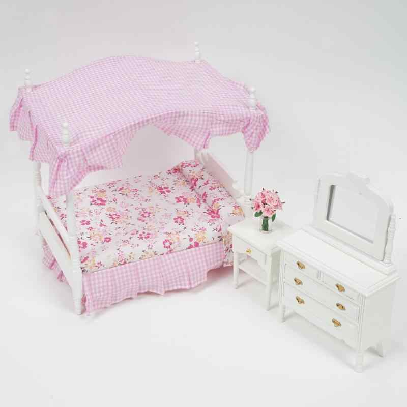 Dongzhur Doll House Miniaturas 1:12 Model Dollhouse DIY Dollhouse Mini Pink Bed Dresser Chair Princess Bedroom Furniture Sets