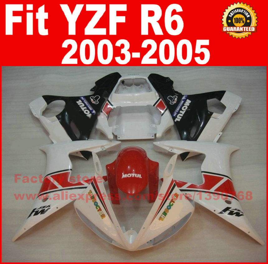 ABS Road/racing motor fairings kit for YAMAHA R6 2003 2004 2005 YZF R6 03 04 05 white red fairing kits auldey 88010 abs racing car kit