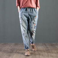 CK598 Mùa Thu Dài Denim Mắt Cá Chân Quần Hoa Thêu Phụ Nữ Bông Harem Pants Casual Loose Người Phụ Nữ Quần Floral jeans Thở Hổn Hển