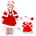 2016  Christmas Dress for Girls Winter solid A-line Dress +Vest +Hat 3pcs New Year Costume for Girls  Party Dress Kids