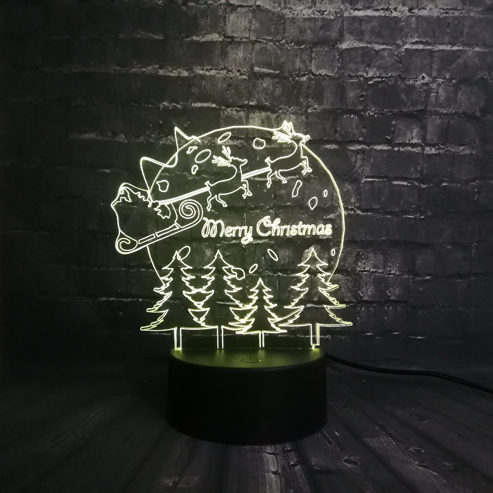 Merry Christmas Deer Tree Decoration For Home 3D USB LED Lamp Color Change RGB Night Light Base Kid Baby Sleep Illusion Effect
