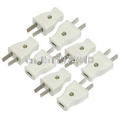 8 Pcs AC 250V 10Amp Connector Head 2 Pin US USA AU Power Plug Light Gray