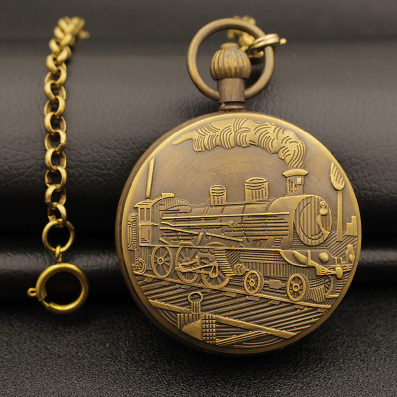 wholesale luxury retro classic men grandfather Antique Moon Phase enameled train brass mechanical movement Pocket Watch hour wholesale moon phase pocket watch retro brass classic man fob watches antique double cover bovet mechanical good quality